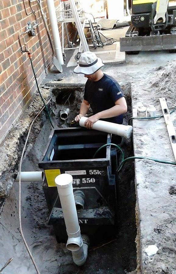 Installation of a grease trap & small commercial kitchen for a new Mexican franchise restaurant in Victoria Park.